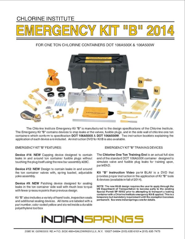 Chlorine Institute Emergency Kit B 2014 Literature