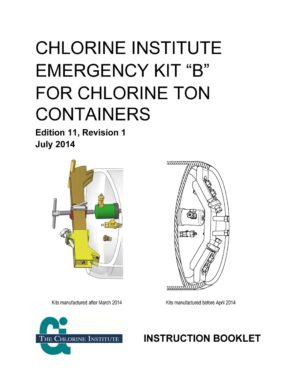 Chlorine Institute Emergency Kit B Chlorine Ton Containers Instruction Booklet