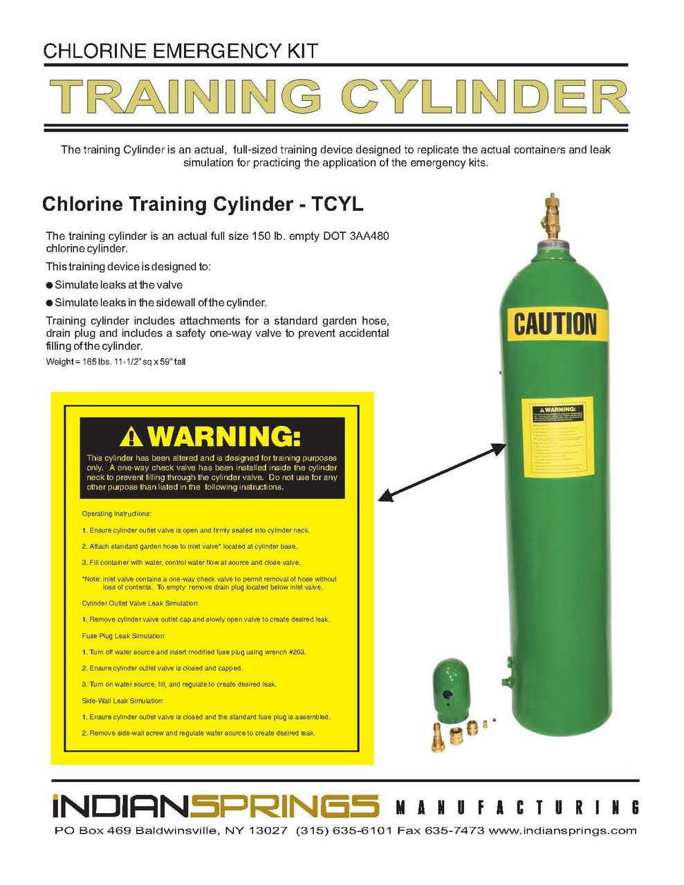 Chlorine Training Cylinder Instructions | Indian Springs