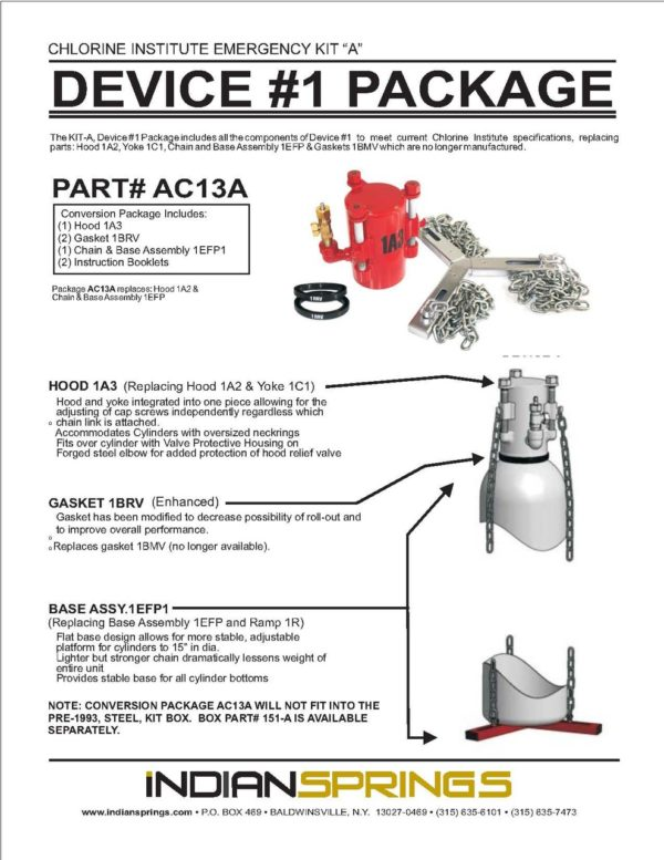 Chlorine Institute Emergency Kit A Device #1 Package Literature