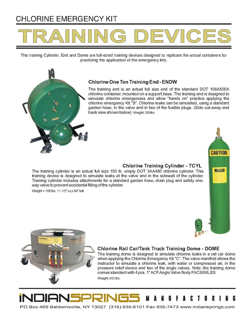 Emergency Kit Training Devices Literature | Indian Springs
